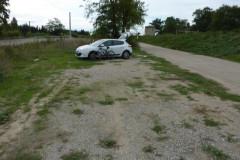 Le parking proche du rond-point du taureau à Saint-Laurent d'Aigouze